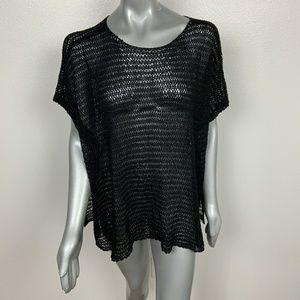 Eileen Fisher Top Crochet Short Sleeve Sz: L/XL